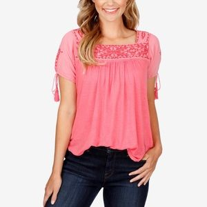 Lucky Brand Linen Embroidered Top in Pink